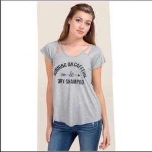 Running on Caffeine & Dry Shampoo Graphic Tee Gray